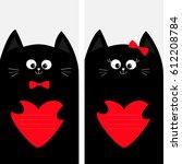 black cat kitty family holding...   Shutterstock . vector #612208784