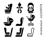 baby car seat  toddle car seat  ... | Shutterstock .eps vector #612209078