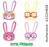 cute rabbit face vector artwork | Shutterstock .eps vector #612224828