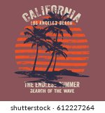 california surf typography  t... | Shutterstock .eps vector #612227264