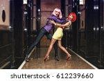 two beautiful young girls in... | Shutterstock . vector #612239660