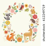 forest background with animals... | Shutterstock .eps vector #612249719