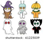 halloween children in costumes | Shutterstock .eps vector #61225039