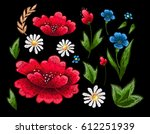 beautiful flowers embroidery... | Shutterstock .eps vector #612251939