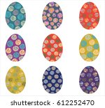 vector easter eggs with circles ... | Shutterstock .eps vector #612252470