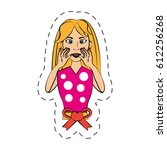 cartoon woman expression image | Shutterstock .eps vector #612256268