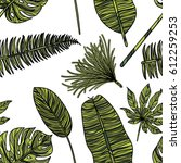 seamless pattern with tropical... | Shutterstock .eps vector #612259253