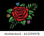 red rose and little flowers... | Shutterstock .eps vector #612259478