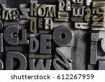 historical letterpress types ... | Shutterstock . vector #612267959