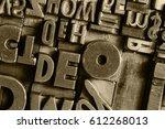 historical letterpress types ... | Shutterstock . vector #612268013