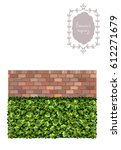 boxwood topiary and brick wall  ... | Shutterstock .eps vector #612271679