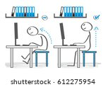 how you should be sitting at... | Shutterstock .eps vector #612275954