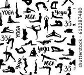 yoga poses collection. seamless ...   Shutterstock .eps vector #612287480
