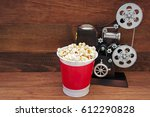 popcorn bucket and music box in ... | Shutterstock . vector #612290828