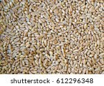 Small photo of Closeup on healthy ,hulled, pearled, raw farro wheat seeds - food texture or background