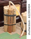 Small photo of A Mock up of High Explosive Dynamite Sticks.