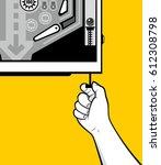 man hand pull pinball lever | Shutterstock .eps vector #612308798