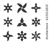 Ninja Star Icon Set On White...