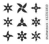 ninja star icon set on white... | Shutterstock .eps vector #612311810