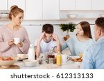 caring sister supporting her... | Shutterstock . vector #612313133
