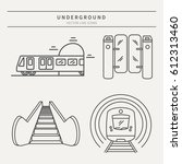 vector subway icons and badge.... | Shutterstock .eps vector #612313460