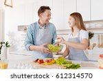 overjoyed smiling father and... | Shutterstock . vector #612314570