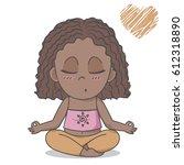african american girl sitting... | Shutterstock .eps vector #612318890
