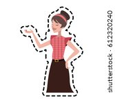pretty brunette woman icon... | Shutterstock .eps vector #612320240