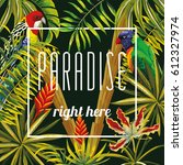 slogan paradise right here on a ... | Shutterstock .eps vector #612327974