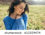 happy smile dreamy female with... | Shutterstock . vector #612329474