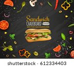 sandwiches with ham cheese... | Shutterstock .eps vector #612334403