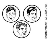 face men comic style black and... | Shutterstock .eps vector #612335240