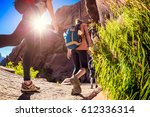 hikers moving forward on the... | Shutterstock . vector #612336314