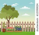 pot plants tree field fence | Shutterstock .eps vector #612350024