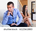 angry spouses having bad argue... | Shutterstock . vector #612361883