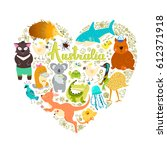 set of stickers with australian ... | Shutterstock .eps vector #612371918