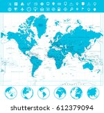 world map and flat globes with... | Shutterstock .eps vector #612379094