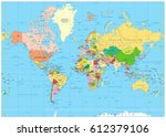 highly detailed political world ... | Shutterstock .eps vector #612379106