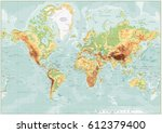 physical world map retro colors ... | Shutterstock .eps vector #612379400