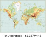 detailed physical world map... | Shutterstock .eps vector #612379448