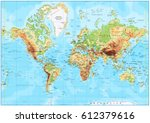 detailed physical world map... | Shutterstock .eps vector #612379616