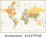 world map isolated on retro... | Shutterstock .eps vector #612379760