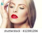 beauty face of young woman with ... | Shutterstock . vector #612381206