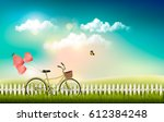 nature meadow landscape with a...   Shutterstock .eps vector #612384248