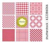 set of seamless checkered... | Shutterstock .eps vector #612386066