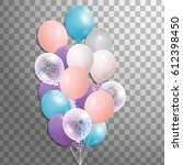 set of 3d  silver  blue  pink... | Shutterstock . vector #612398450