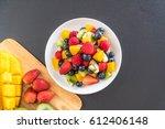 mixed fresh fruits  strawberry  ... | Shutterstock . vector #612406148