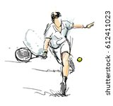 colored hand sketch tennis... | Shutterstock .eps vector #612411023