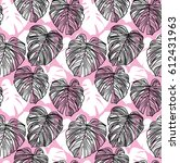 seamless pattern with leaves of ...   Shutterstock .eps vector #612431963