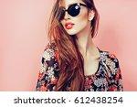 portrait of young beautiful... | Shutterstock . vector #612438254